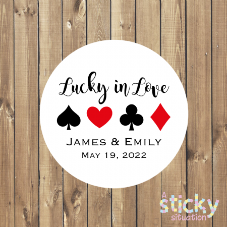 Personalised 'Lucky in Love' Wedding Favour Stickers